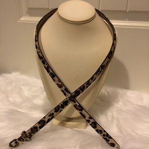 Ann Taylor leopard print calf hair skinny belt